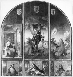 De H. Jacobus de Meerdere (links), de aartsengel Michaël (midden), de H. Franciscus (rechts), de H. Petrus (linksonder), de bewening (middenonder), de H. Paulus (rechtsonder)