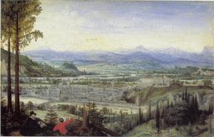 Landschap met tekendende kunstenaar op de voorgrond