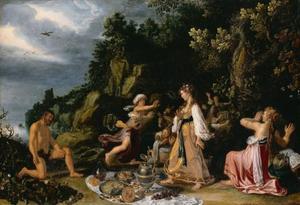 De ontmoeting van Odysseus en Nausikaä: Odysseus vertoont zich halfnaakt op het strand, NAusikaä en haar gezellinnen schrikken hevig