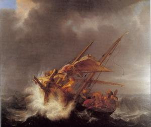 Jezus slaapt tijdens de storm op de zee van Galilea  ( Matheus 8: 23-25, Marcus 4: 37-39, Lucas 8: 22-25)