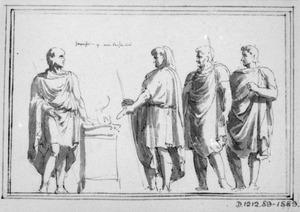 Offerende mannen in toga bij een altaar