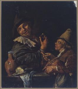 Man met een wijnglas en een jongen met een rommelpot