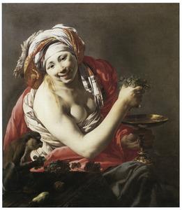 Jonge vrouw knijpt druiven uit boven een tazza: de smaak