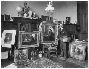 Portret van de schilder Jacob Simon Hendrik Kever in zijn atelier aan het Oosterpark 87, Amsterdam