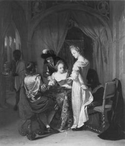 Elegant gezelschap rondom een tafel met een triktrakspel