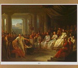 Metellus verdedigt zijn vader voor het tribunaal van Augustus
