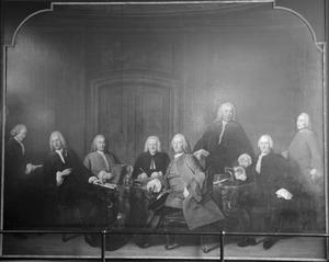 Groepsportret van de inspecteurs van het  Collegium Medicum, Amsterdam, 1756