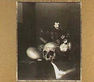 Vanitasstilleven met schedel en bloemen