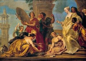 Achilles door Odysseus ontdekt tussen de dochters van Lykomedes