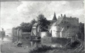 Gezicht op de stad Weesp aan de Vecht met rechts de Muiderpoort