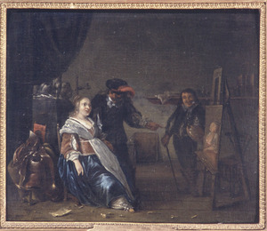 Interieur van een schildersaterlier met een vruw die haar portret bekijkt