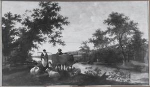 Landschap met melkmeid, boer en vee bij een rivier