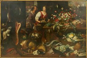 Interieur van een voorraadkamer, met figuren en levende dieren