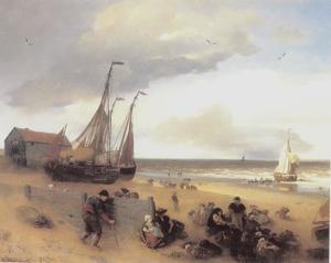 Kustlandschap met vissers op het strand