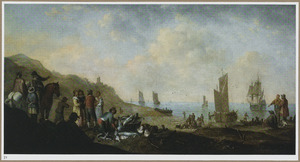 Strandgezicht met een visafslag, groepjes pratende mensen op de voorgrond