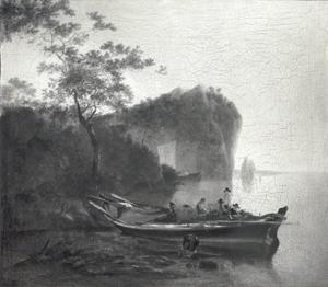 Baai in een italianiserend landschap met een afgemeerde boot