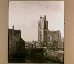 De Onze Lieve Vrouwekerk in Dordrecht vanaf de Leeuwenbrugzijde