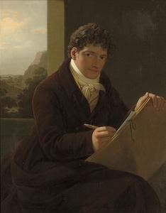 Zelfportret bij het schetsen, met een doorkijk naar het landschap