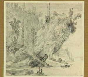 Rivierlandschap met rotsoever, roeiboot en figuren