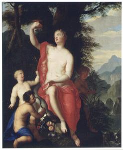 De godin Ceres met putti in een bosrijk berglandschap