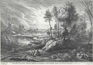 Landschap met windmolen en vogelnet