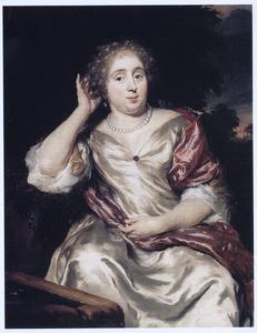 Portret van een vrouw, zittend bij een fontein