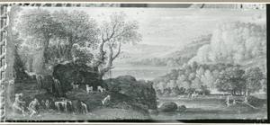 Landschap met musicerende herders op rotsen