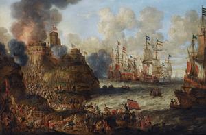 De belegering van een Levantijns kasteel met talrijke vechtende figuren, oorlogsschepen op woelige zee in de achtergrond