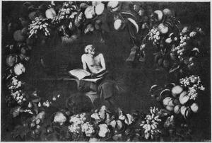 De heilige Hiëronymus in zijn studeervertrek; in een vruchtenkrans