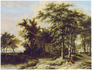 Boslandschap met twee jagers op een pad