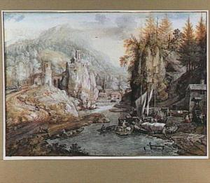 Bergachtig rivierlandschap met kasteel op een rots