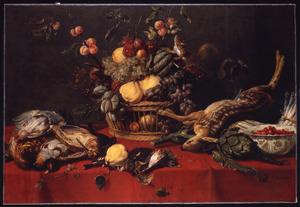 Vruchtenstilleven met jachtbuit en eekhoorn