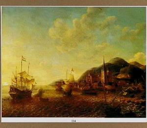 Hollandse schepen voor een zuidelijke haven