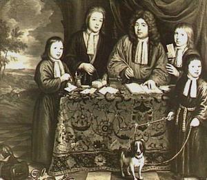 Familieportret van Lambert Twent (1642-1697) en zijn kinderen Seger Twent (1674-....), Adrianus Twent (1676-....), Nicolaas Lambrechtsz. Twent (1681-1754) en Abraham Twent (1687-1760)