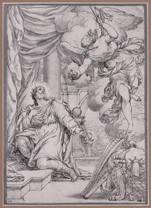 De berouwvolle Koning David kiest uit drie plagen de pest (2 Samuel. 24:14-15 ; 1 Kronieken 21)