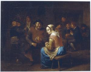 Interieur van een herberg, met een man die een munt aanbiedt aan een jonge vrouw
