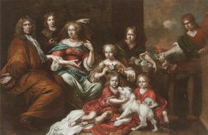 Portret van een man, vrouw en zes kinderen