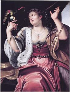 De vijf zintuigen: jonge vrouw met bijtende papegaai , allegorie op het Gevoel
