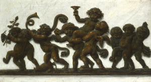 Trompe l'oeil van een bronzen fries met dansende putti