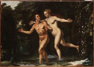Salmacis, de nimf van de bron, wordt verliefd op de badende Hermafroditus (Ovidius, Metamorfosen)