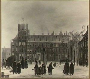 Gezicht op Den Haag, het Buitenhof met de Stadhouderspoort
