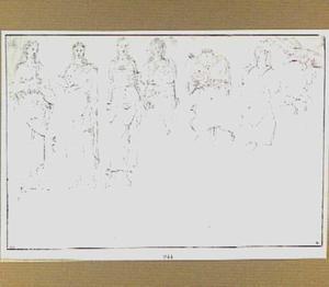 Studies van antieke figuren en twee dierenkoppen
