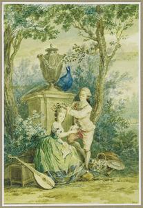 Jongeman bekroont met bloemenkrans een jonge vrouw in parklandschap