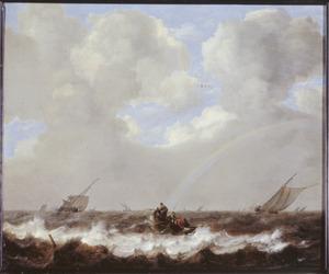 Schepen op een woelige zee; op de achtergrond een regenboog