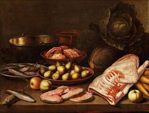 Stilleven met vlees, vis, groente en fruit