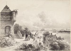 Gezicht vanaf het Belvedère over de rivier de Waal, in Nijmegen