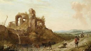 Italianiserend landschap met klassieke ruïne en een herder met koeien
