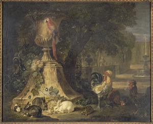 Papegaai op een tuinvaas, aan de voet konijnen, een cavia, kippen en een schildpad, rechts een doorkijk naar een fontein