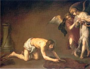 Christus na de geseling met twee engelen