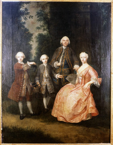 Portret van de familie van Nicolaus von Deneken von Nienlande (1709-1772) en Eleonora Constantia van Belle (1694-1756)